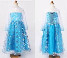 2014 Girls Dresses Disney Snow Frozen Princess Elsa Costumes child Kits Dress