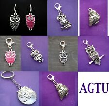 PICK YOUR OWL ~ Clip On Silver Night OWL Charm (or attach to zip) OR Earrings