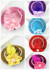 Women Girl Lovely Mini Top Feather Hat Hair Clip Fascinator For Party Wedding