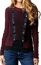 FOX DRIVE WOMENS CARDIGAN SWEATER BORDEAUX