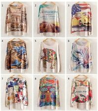 Vintage Womens Long Sleeve Batwing Graphic Print Knit Sweater Pullover Knitwear
