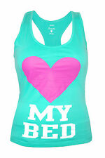 Womens Papaya Vest Tank Top My Bed Print - Mint Green Size 10 to 16 Ladies A11
