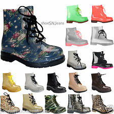 New Women Clear Jelly Rain Boots Lace Up Low Ankle Flat Rubber Wellies Shoes