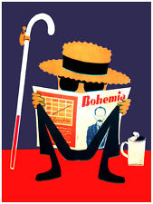 5390.Bohemia.man with cane coffee reads magazine.POSTER.decor Home Office art