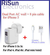 Dual AC Wall Power Charge+8 Pin Cable for iPhone 5 5s 5c iPad 4 iPad Air mini