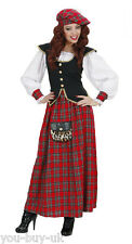 Ladies Scottish Lady Lass Costume Tartan Scotland Traditional Fancy Dress Outfit