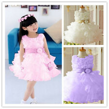 Multilayer flower girl dress Pageant Party prom ball gown scoop knee length tutu