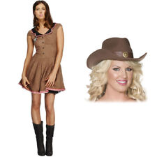 Womens Wild West Fancy Dress - Ladies Sexy Fever Costume PLUS Cowboy Cowgirl Hat