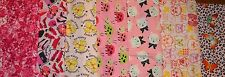 Cute Prints Butterrflies, Dogs Cats & More on Pink FLANNEL 1 YARD PRINT #1