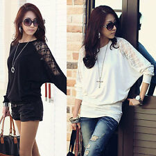 Plus Size 8-26 Sexy Womens Ladies Batwing Lace Sleeve Loose T-Shirt Blouse Top