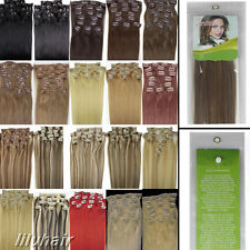 Women Beauty 20inch 8PCS Clip In Straight Remy Human Hair Extensions 100G New