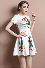 New Fashionable cartoon printing princess backless dress party pleated dress