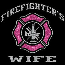 Firefighters Wife Glitter T-Shirt All Sizes And Colors New