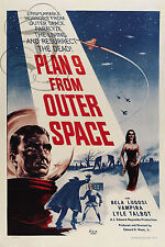 PLAQUE ALU DECO REPRODUISANT AFFICHE CINEMA SCI FI PLAN 9 FROM OUTER SPACE