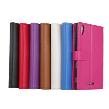 NEW Deluxe Litchi Wallet Leather Skin Flip Folio Case Cover For Sony Xperia T3