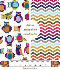 "OWL AND CHEVRON Collection Multi Color Cotton Fabric By the Yard 43"" Wide"