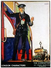 5854.The conductor.london characters.man waiting at train.POSTER.Home Office art