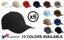 *6 PACK* Yupoong Flexfit 6277 Wooly Combed Twill Cap Hat *13 COLORS* Blank BULK