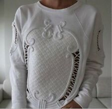 Stylish Womens Embroidery Hollow Blouse Jumper Hoodie Sweats 2 Color