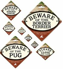 Oval Cast Iron Dog, Pet & Text Warning Signs