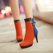 Sexy Women Ladies Shoes Stilettos two Tones Buckle OL Booties Ankle Boots SIZE
