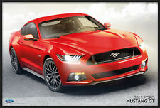 """2015 FORD MUSTANG GT - FRAMED POSTER / PRINT (RED MUSTANG) (SIZE: 36"""" x 24"""")"""