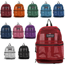 Color Mesh Backpack Transport See Through Book Multi Sports School Bag *Pick One