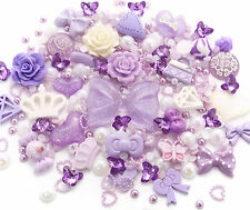 Purple Princess Cabochon Rhinestone Pearl Set Kit DIY Decoden Kawaii Craft Mix