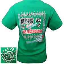 NEW Southern Chics Funny Nurses Heartbeat Healthcare Bright Green T Shirt