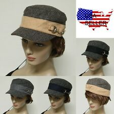French Round Bill Cadet Fashion Military Stretch Caps Hats One Size Fit Unisex