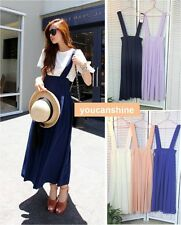 Womens Chiffon Long Braces Suspenders Dress Flared Overalls Maxi Pleated Skirt