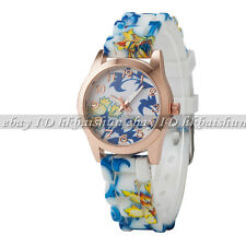 Flower Butterfly Small Silicone Jelly Quartz Children Kid Lady Girl Wrist Watch