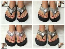 Black Wedge Womens Crystal Rhinestone Studded Bling Flip Flops Sandals Colors