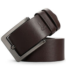 Mens Casual Dress Leather Belt Silver Pin Buckle Waistband Fashion Black/Brown