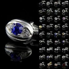 Lot Vintage Crystal Stainless Steel Golden Silver Round Wedding Mens Cuff Links