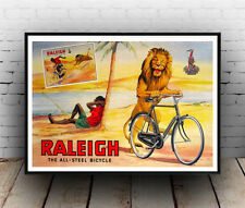Raleigh lion ,  Vintage cycle advertising poster reproduction