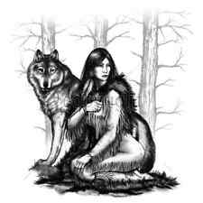 Native American Woman & Wolf T-Shirt & Tank Tops All Sizes & Colors