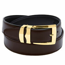 Reversible Belt Bonded Leather Removable Gold-Tone Buckle BROWN / Black