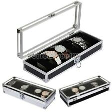 Aluminum Box 6 Grid Slots Watch Jewelry Display Storage Organizer Case #Cu3