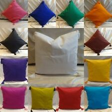"""100% cotton pillow case cushion cover solid color 12"""" -30"""" with tassels HD EHS"""