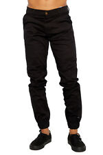 Mens Black Jogger Heft Brand Signature Khaki Twill Pants