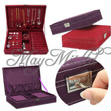 Lockable Velvet Jewelry Box Large Capacity Earring Necklace Storage Case New J