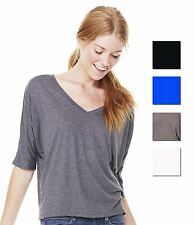 Bella Flowy Half 1/2 Sleeve V Neck Crop Ladies T-Shirt Womens Casual Top New