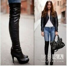 Womens 100% Leather Side Zipper High Heeled Platform Over The Knee Boots