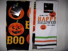 Set of 2 Halloween Kitchen Towels BOO and Happy Halloween