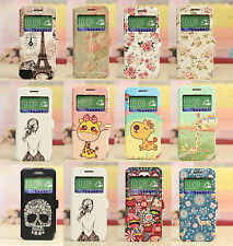 CUTE WINDOW VIEW FLIP WALLET CARTOON PAINTING CASE COVER FOR HTC DESIRE 610
