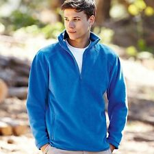 Fruit of the Loom Mens Zip Neck Fleece Pullover Breathable Pill Resistant S-2XL