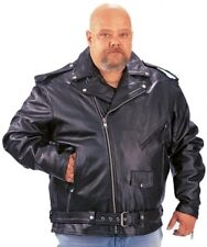 BLACK BIG & TALL SIZE  MENS LEATHER MOTORCYCLE JACKET 014.00