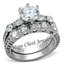 Women's Antique Style Stainless Steel CZ Engagement Ring Wedding Ring Set 5-10