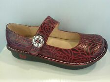 NEW - ALEGRIA Women's Paloma Wine Embossed Rose Mary Jane Shoes -  PAL- 534